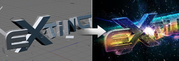 Colourful Exploding 3D Text Effect